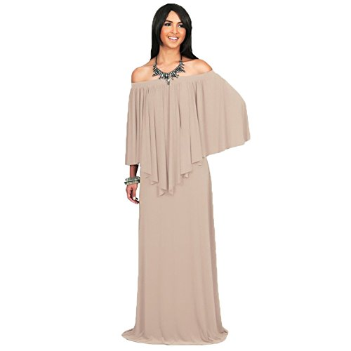 WintCO Damen Langarm Abendkleid Lang Schulterfrei Kleid Maxikleid Bodenlang Kleid Volent Lange Kleider Aprikose