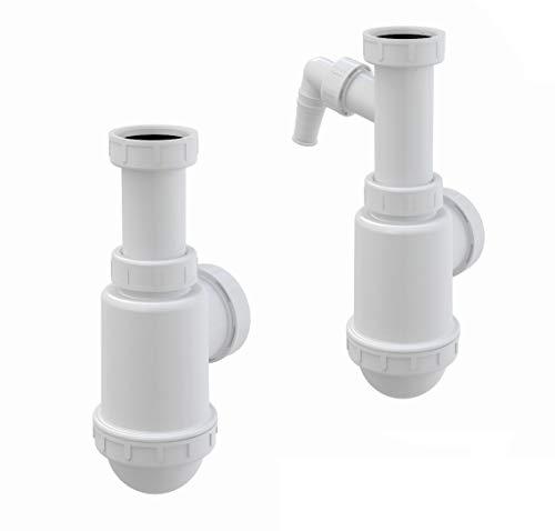Ablaufgarnitur Spülbecken Flaschen Röhren Siphon 1,5' ø40/50mm Spüle Becken, Ausführung:mit Geräteanschluß