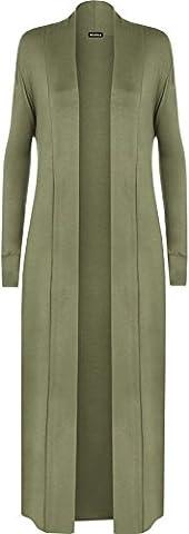 WEARALL Femmes Ouvert Longue Manche Plaine Maxi Copain Cascade Haut Dames Cardigan - Vert Kaki - 40-42