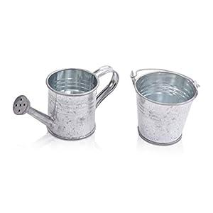 CHICCIE 4er Deko Set Mini Metall Gießkanne und Eimer mit Griff - Miniatur - Gastgeschenk Tischdeko