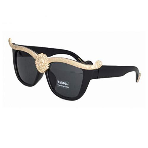 ierte Sonnenbrille New Brand Big Designer Klassische Wild Lion Head Königin Stil Sonnenbrille Uv400 Katzenaugen Metall Frauen Sonnenbrille,C1 ()