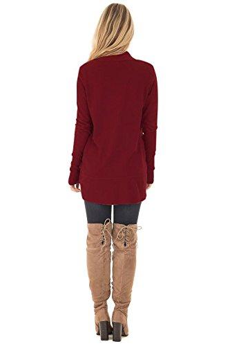 AN-LKYIQ Cardigan aperto da donna manica lunga morbido a maniche lunghe red wine