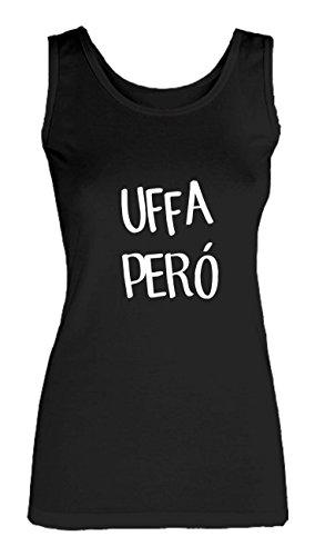 Social Crazy Canotta Donna Cotone Basic Super Vestibilità Top Qualità - Uffa PERÓ - Novità VIP Humor Divertenti Made in Italy Nero