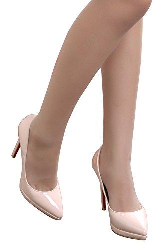 Guoar - Scarpe chiuse Donna (Natural Lackleder)