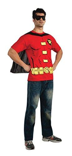 (BATMAN Robin Mens Adult T-Shirt Set Costume Xlarge)