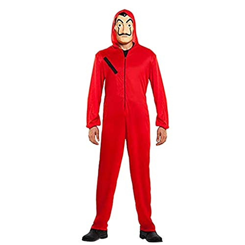 Bazhahei tuta cosplay,casa di carta costumi tuta da adulto per bambini tuta rossa tuta di carnevale halloween +maschera (red, adulto)