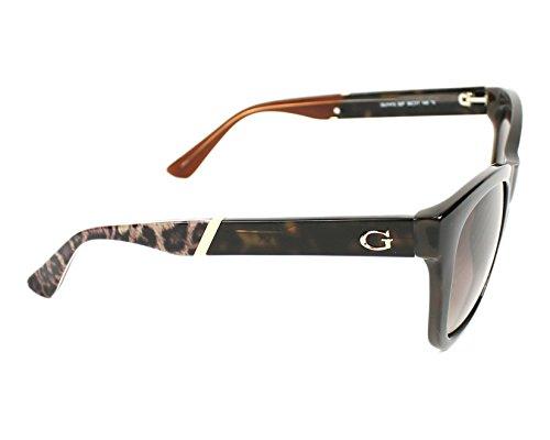 Guess léopard bout géométrique lunettes de soleil à la Havane foncé GU7472 52F 56 Brown Gradient Dark Havana