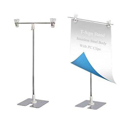 Outdoor Banner Display (MEOLY t-Sign Verstellbar Poster Ständer Edelstahl Display Banner Ständer Halterung mit Clip)