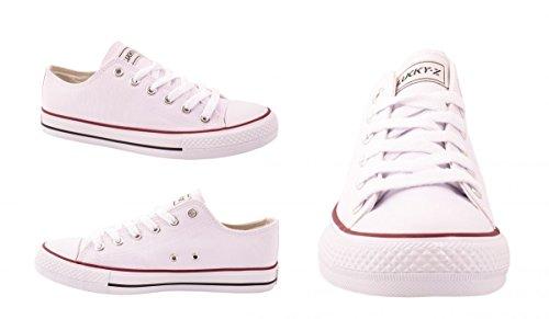 Femmes Baskets Low loisirs Chaussures de sport Basic Lacets Blanc