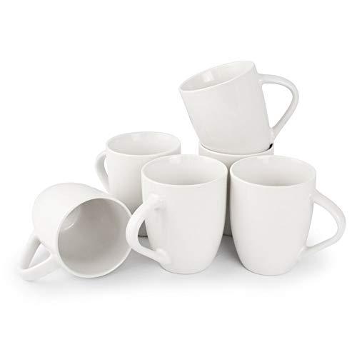6er Set weiße Keramik Kaffeetassen ohne Druck - zum bemalen und basteln geeignet - Simple Kaffeebecher zum Personalisieren - 300ml - Tassen/Becher/Pott für Kaffee, Tee und mehr - Basic