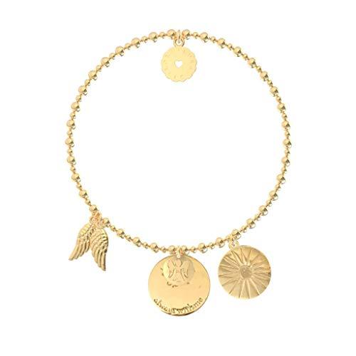 Lora di Lora Armband Bachata Guardian Angel. Eine individuelle Band 18K Vermeil Gold für Frauen 18 cm (Charms Gold Angel)