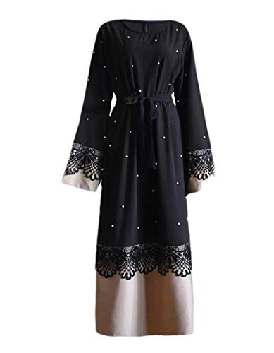 CuteRose Womens Strappy Middle East Relaxed Beaded Premium Dress Overcoat Black 3XL