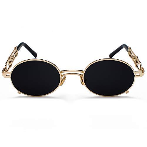 Sxuefang Sonnenbrillen Retro Steampunk Sonnenbrille Männer Runde Vintage Metallrahmen Gold Schwarz Oval Sonnenbrille Für Frauen Männliche Geschenk