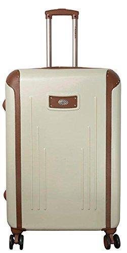Hartschalen ABS Koffer Trolley Reisekoffer Reisetrolley Handgepäck Boardcase Dakar (Weiß, XL)