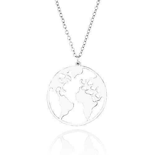 WikiMiu Collar para Mujer, Mapa del mundo colgante, Joyería de personalidad de moda (Plata)