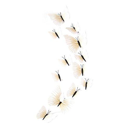 joyliveCY 3D Schmetterlinge im 3D Style 12 Stück Wanddekoration mit Klebepunkten zur Fixierung weiß Zimmer Mural