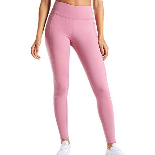 LXRSD Damen Capris Workout Legging Laufhose Yogahose mit Seitentasche Pink S -
