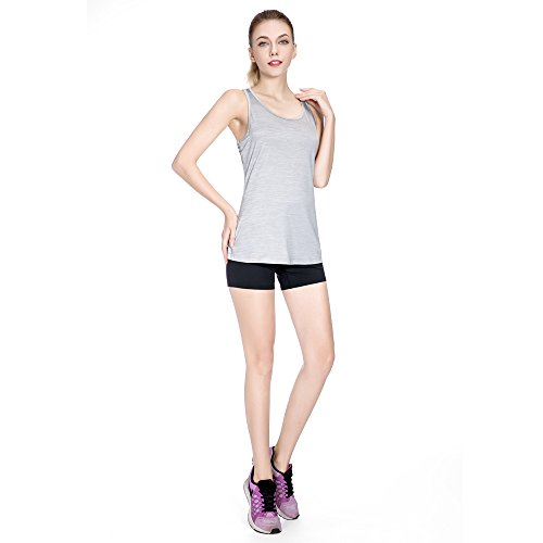 Sunny&Baby Débardeurs pour femmes Smooth Anti-Wrinkle Vest Stretchy Moisture Wicking Workout Jersey pour les dames Confortable ( Color : LIGHT GRAY , Size : L ) Light Gray