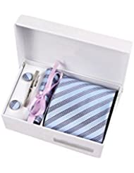 Coffret Cadeau Paris - Cravate bleu azur à fines rayures blanches et bleu marine, boutons de manchette, pince à cravate, pochette de costume