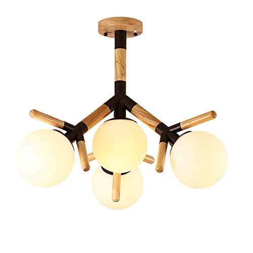 Nordic Creative Glass Lampenschirm aus Holz Kunst Kronleuchter Restaurant Schlafzimmer Studie Deckenleuchten Wohnzimmer Dual-Use-Lampen (Farbe: Black-Top of The Ceiling) Licht Hauptdekorationen für Wo (Weinregal Top)