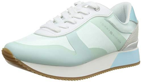 Tommy Hilfiger Damen POP Color Satin City Sneaker, Blau (Aqua Haze 447), 38 EU City-sneaker