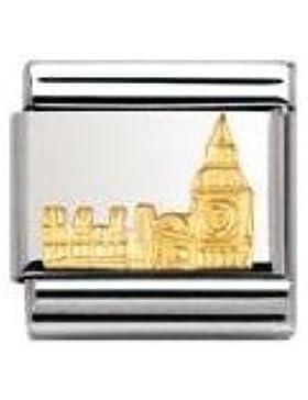 Nomination Composable Classic RELIEF MONUMENT Edelstahl und 18K-Gold (Big Ben) 030123