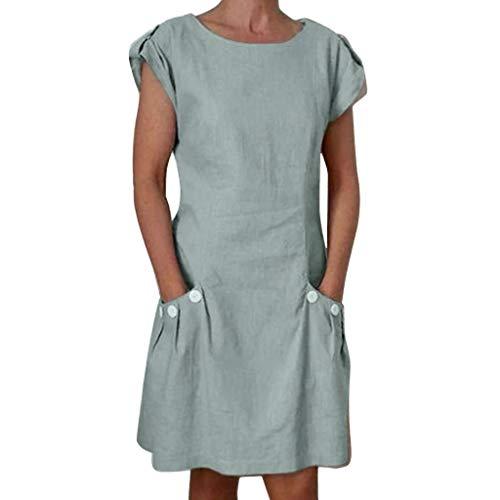 URIBAKY Leinenkleider Damen Sommerkleid Strandkleid,Kleider-Knielang Rock,Elegant T-Shirtkleid Kurzarm Lose Feste gekräuselte Taschen O-Ansatz verschieben (Plus Size Mode Der 70er Jahre)