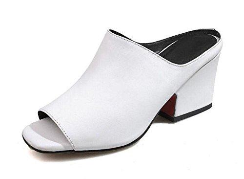 GLTER Frauen Peep Toe Pump Street Einfache Leder High-Heel Square Pantoffeln Dicke Heel Maultiere White