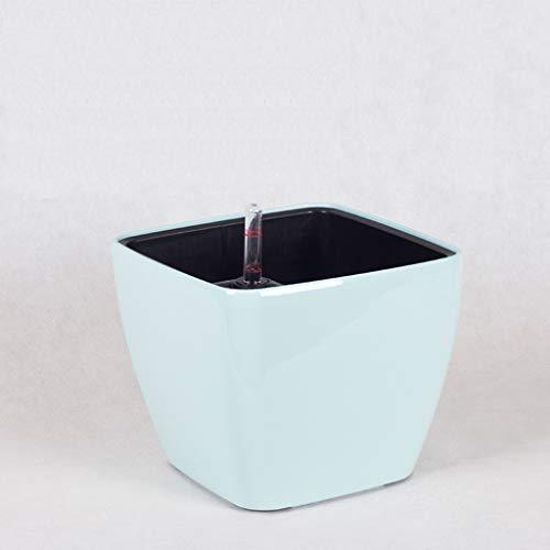 Quadratischer Blumentopf, Lilien-Blumentopf Automatische Bewässerungsfunktionen Grüne Pflanze Container Studio Coffee Shop Blumentopf ( Farbe : Ice blue , größe : 20*20*17cm ) Ice Blue Vase