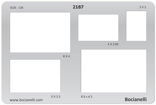 15cm x 10cm Zeichenschablone aus Transparentem Kunststoff für Grafik Design Kunst Handwerk Technisches Zeichnen Schmuckherstellung Schmuck Machen - Rechteck Rechtecke geometrische Figur Symbole