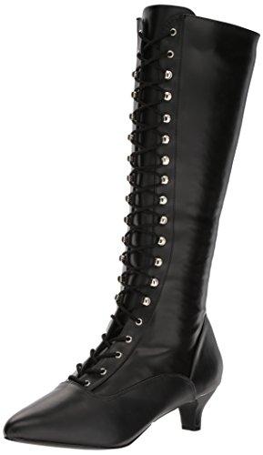 Pleaser Damen Pferdeschuh, Black STR Faux Leather, 45 EU