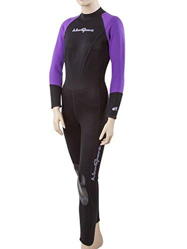 NeoSport Combinaisons de plongée pour Femme Premium en néoprène 1mm Combinaison complète, Noir/Violet