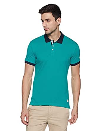 United Colors of Benetton Men's Solid Regular Fit Polo (18P3SPLJ1042I_B40_S_Green_Small)