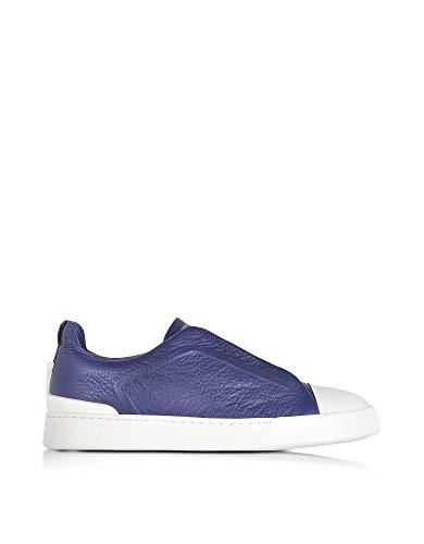 Z ZEGNA Herren A2970xkarblu39 Blau Leder Slip On Sneakers