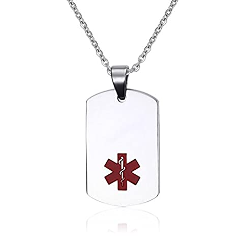 Vnox Stainless Steel Medical Alert ID Dog Tag Pendant Necklace for Men Women,Silver,with Cable Chain,Free Engraving