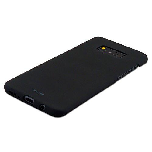"""iPhone 8 Hülle / iPhone 7 Hülle Schwarz - CASEZA """"Rio"""" Case Back Cover mit Mattem Finish - Premium Hardcase Bumper mit Gummierter Oberfläche für Angenehme Haptik - Hochwertige Schutzhülle Ultra Slim Schwarz Galaxy S8 Plus"""