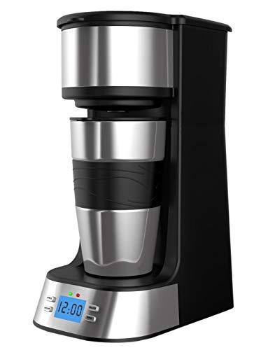 Kaffeemaschine 1 Tassen, Webat Kaffeemaschine 1 Tassen Programmierbare Edelstahl mit Timer für Reisen 420ML Kaffeemaschine