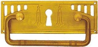 Antikhof Beschlag Messing geprägt Natur 9,7 x 3,3 cm - Antik Messing Möbel-hardware