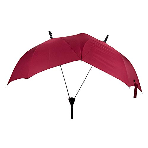 Memory Gerade Umbrella, Paar Doppel-Hooks Umbrella, 16 Bone Large Long Handle Windproof Double Pole Personality Umbrella,Red