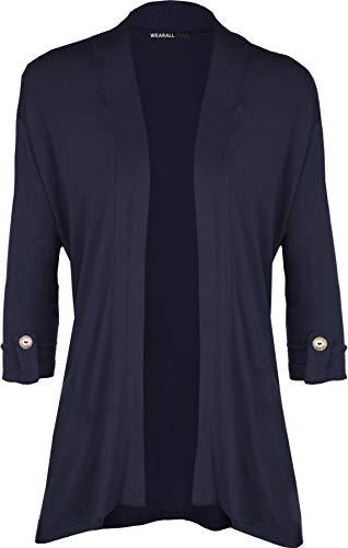 WearAll - Damen Übergröße Kurzarm knopf offen Cardigan Top - Marineblau - 42 Plus Size Pullover-westen