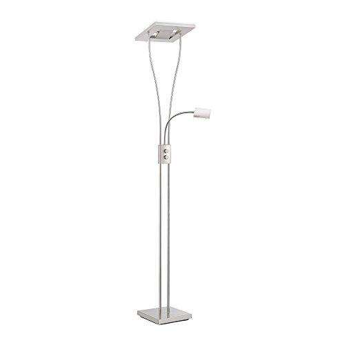 LED-Deckenfluter dimmbar mit flexibler Leselampe, zweigeteilter Fluterkopf Stehleuchte Wohnzimmerlampe Standleuchte LED-Fluter, Leseleuchte Standleuchte 1850 Lumen warmweiß quadratisch -