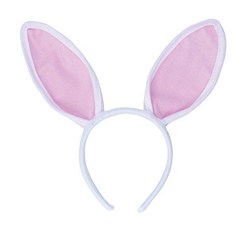 Bristol Novelty Haarreif mit Bunny-Ohren, MD101, weiß/pink, ()