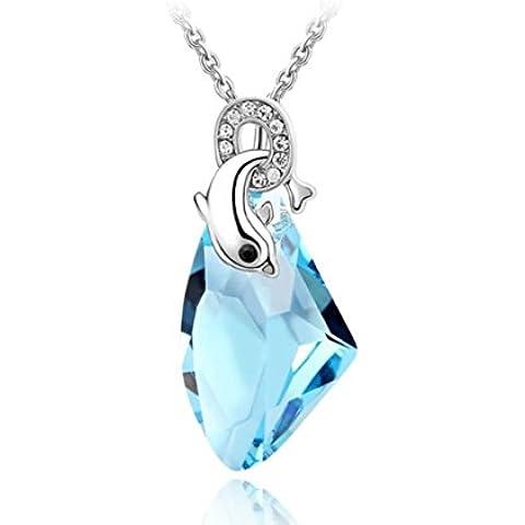 Placcato in oro bianco, colore: blu delfino Love ciondolo in cristallo Swarovski Elements Collana - Placcato Ciondolo Delfino