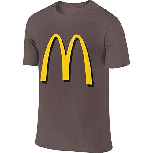 Herren McDonalds Logo T-Shirt Tshirt Sommer Kurzarm Rundhals Tee Shirts Baumwolle Sport Tops für Herren Kaffee S -