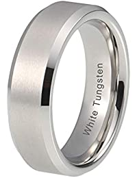 65557ccc5455 6mm Wedding Band For Men Women White Tungsten Carbide Ring Satin Finish Comfort  Fit