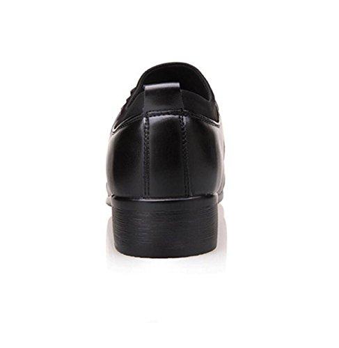 GRRONG Herren Leder-Schuh-echtes Leder Formales Kleid Spitz Freizeit Schwarz Black