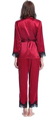 Lilysilk Elegant Seide Schlafanzug Pyjama Set Damen Lang mit Spitze 22 Momme Weinrot