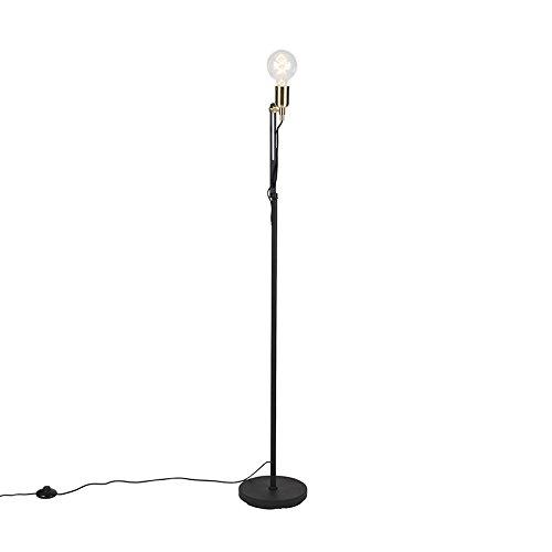 QAZQA Modern Moderne Stehleuchte/Stehlampe / Standleuchte/Lampe / Leuchte schwarz mit Messingakzenten - Slide/Innenbeleuchtung / Wohnzimmer/Schlafzimmer / Küche Metall Andere LED geeignet - Dimmer Licht Slide