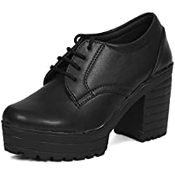 Beonza Women Black Block Heels Sneakers Shoes-40