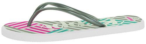 Beppi Badesandalen Unisex-Sandalen Zehentrenner Karo Muster Streifen  Freizeit-Slipper Zehengreifer Mint Pink Grau   Weiche Sohle Weiß